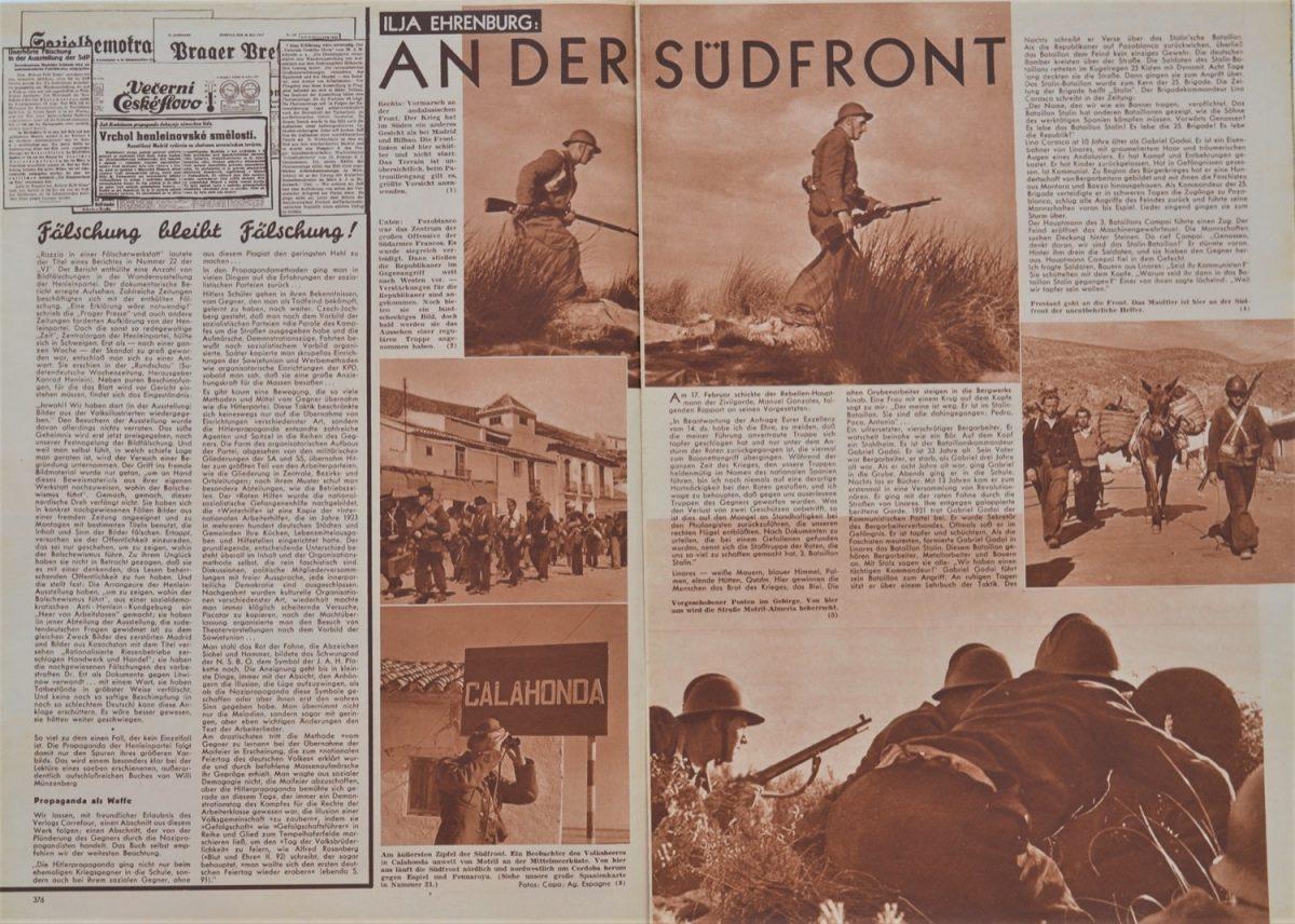 F.9 Información sobre la operación de los brigadistas durante La Desbandá (Volks-Illustrierte, 16 de Junio 1937. Interior. Fotos Robert Capa)